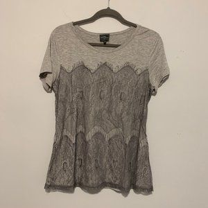 Market & Spruce Gray Lace Short Sleeve Tee Shirt